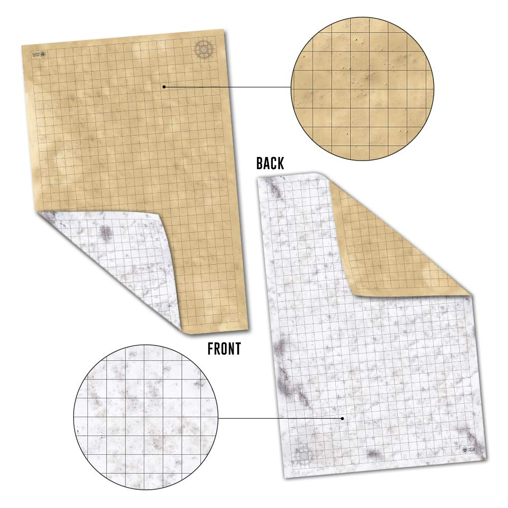 Battle Grid Game Mat - 3 Pack Double Sided 36 x 24 - Portable DND RPG Table Top Role Playing Map - Dungeons and Dragons Starter Set - Tabletop Gaming Paper - Reusable Figure Board Game by Melee Mats (Image #8)