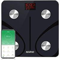 RENPHO Báscula de Baño Peso Digital con IMC y conectividad Bluetooth, con Aplicación de Teléfono Inteligente y LED Retroiluminado Fácil de Leer, Vidrio Templado Resistente 180 kg. Negro