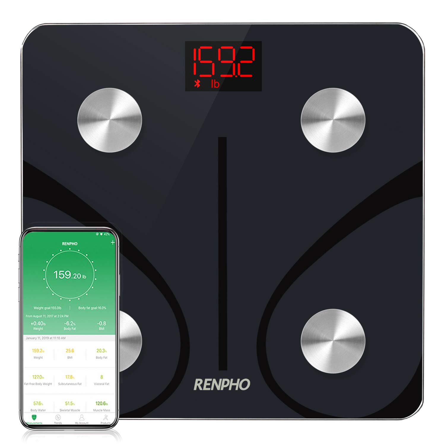 RENPHO Bluetooth Body Fat Scale, Weight Scale Digital Bathroom Smart Body Composition Analyzer Wireless BMI Scale Health Monitor with Smartphone APP, 396 lbs/180kg by RENPHO