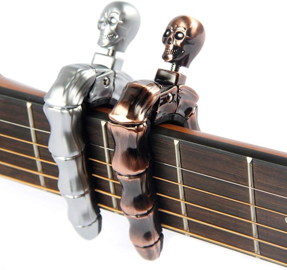 YUEKO Guitar Capo Skull Knob Design Universal 4 5 6 12 Strings Instrument Capos for Electric Classical Acoustic Guitar Bass Ukulele Mandolin Banjo and More(Bronze)