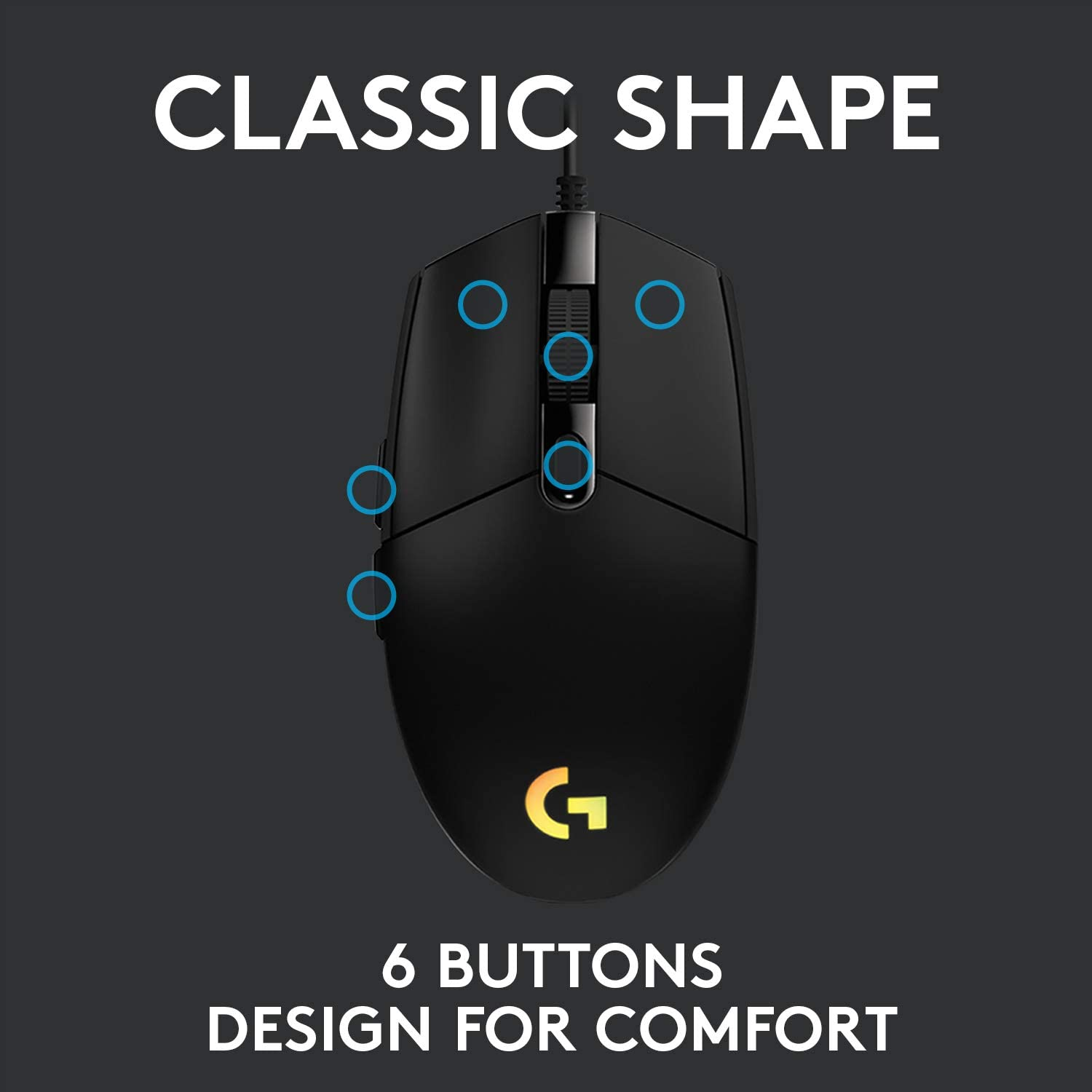 Logitech G102 Lightsync Wired RGB Gaming Mouse classic shape