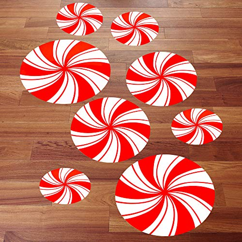 - Holybo Christmas Decorations Peppermint Floor Decals Stickers - 8 Pcs Christmas Candy Cane Land Wall Decals Stickers Decorations for Door/Wall/Office/Party