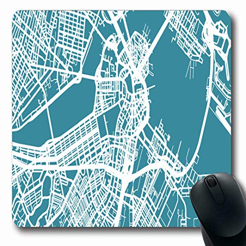 Ahawoso Mousepads City Massachusetts Detailed Map Boston Scale 130 Ocean Abstract Street Airport Atlantic Center Oblong Shape 7.9 x 9.5 Inches Non-Slip Gaming Mouse Pad Rubber Oblong ()
