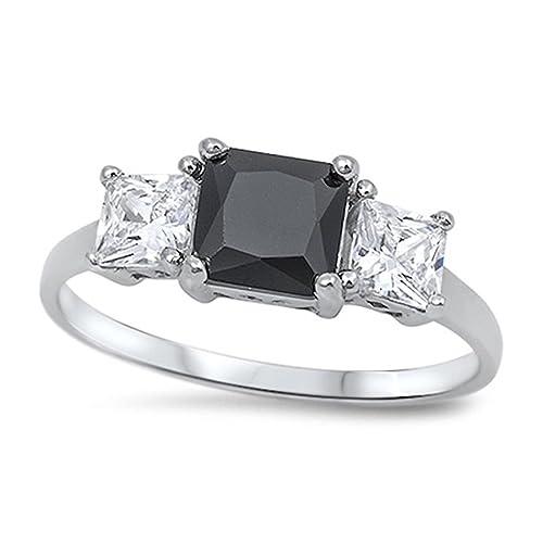 35e2e132129a1 3 Stone Wedding Engagement Ring Simulated Jet Black Princess Cut Square CZ  925 Sterling Silver