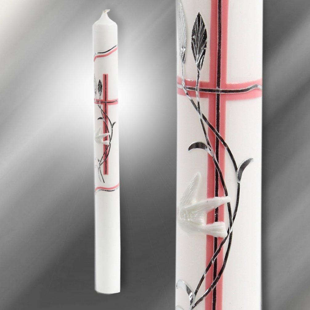Kerze Kommunionkerze Taufkerze Rosa Silber C101/RS Celebration