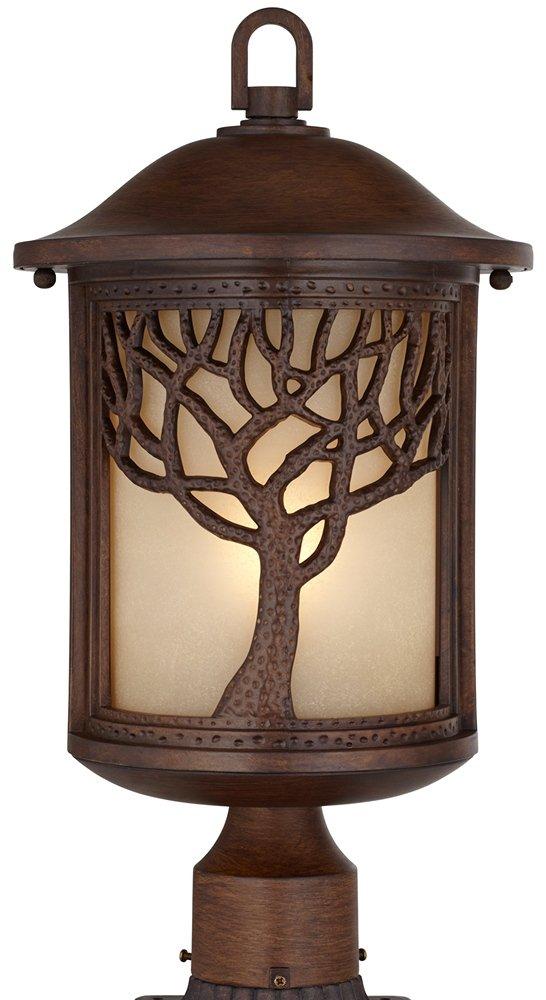 Mission Style Oak Tree 18 3/4'' High Bronze Finish Post Light