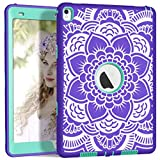 iPad Pro 9.7 Case, A1673/A1674/A1675 iPad Case, Hocase Heavy Duty Shockproof Hybrid Silicone Rubber Hard Protective Case with Cute Floral Pattern for iPad Pro 9.7-inch 2016 - Purple / Teal Green