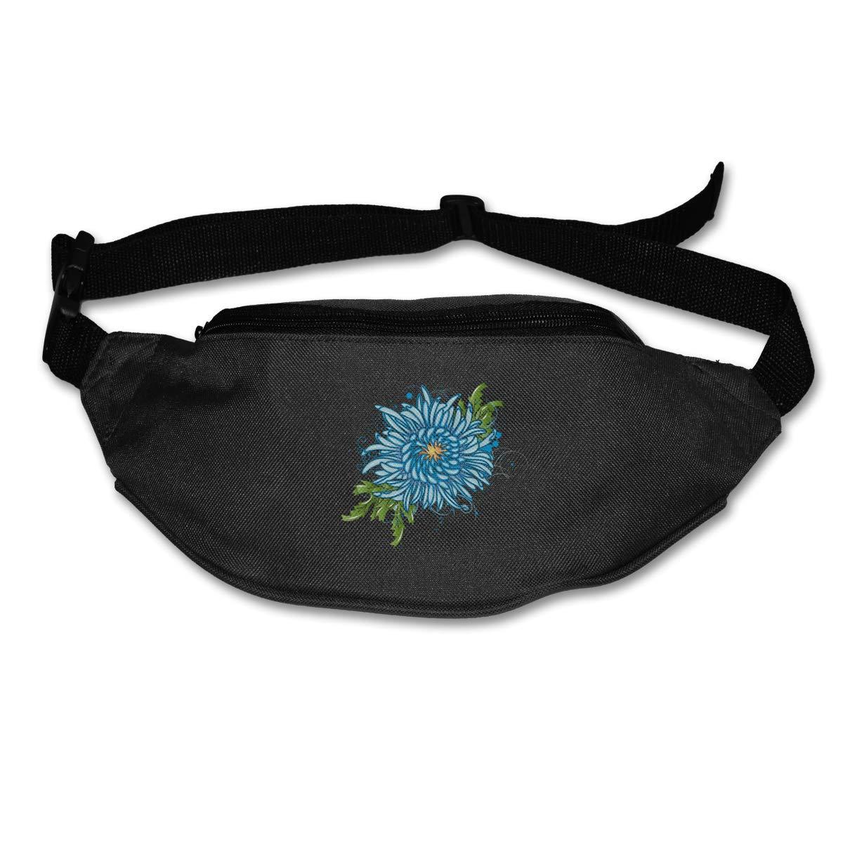 Blue Chrysanthemum Sport Waist Packs Fanny Pack Adjustable For Run
