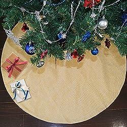 Ivenf 48 inch Large Burlap Plain Christmas Tree Skirt Xmas Tree Decorations