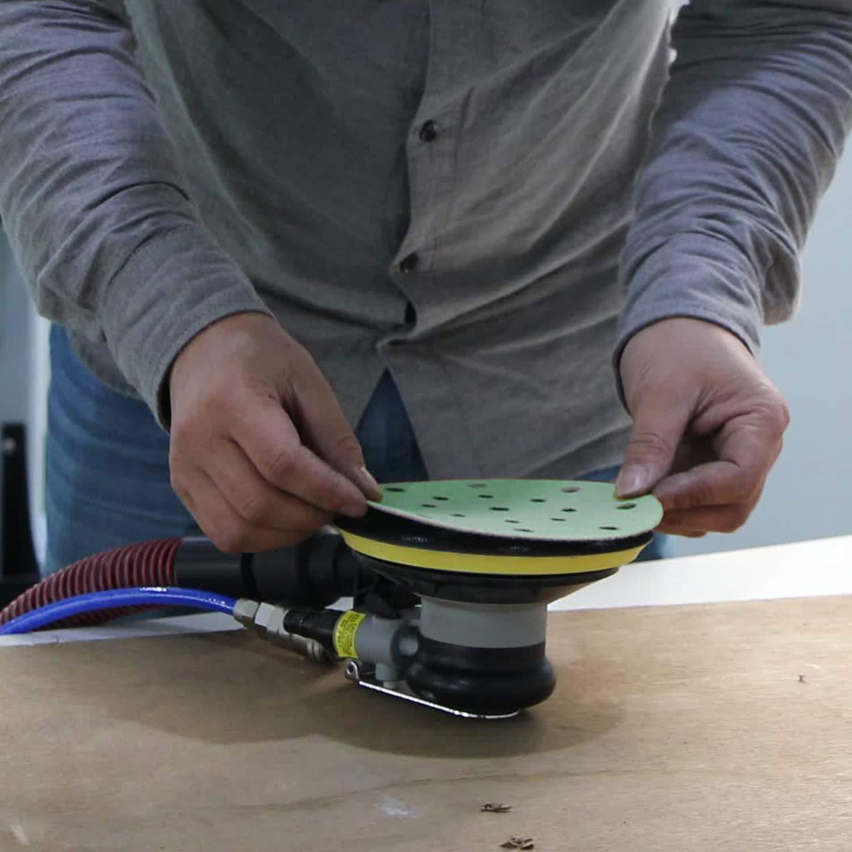 17 Holes Wet Dry Dustless Film-Backed Green Sandpaper Assorted Grit of 800 1000 1500 2000 Used for Car Paint Wood Random Orbital Sander by SANJIAN 6 Inch Sanding Discs Hook and Loop 28 pcs
