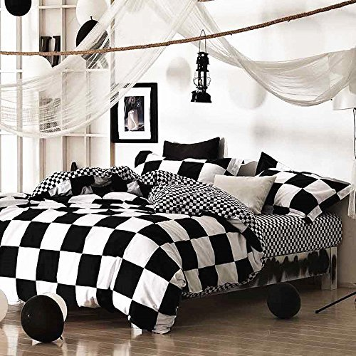 Chess Board Queen (Minimal Style Geometric Shapes Duvet Quilt Cover Scandinavian Midcentury Modern Geo Print 100-percent Cotton Bedding Set Soft Casual Simplistic Triangle Stripes Chevron Pattern (King, Checkerboard))