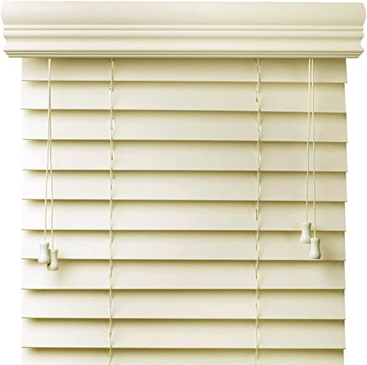 Cordless Blinds Off White 2-Inches Faux Wood Horizontal Blinds – Size 62 W x 72 H