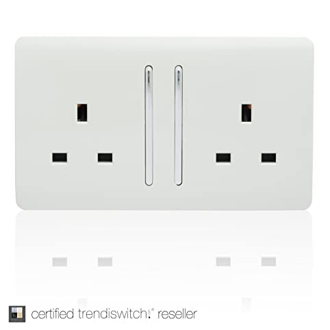 Trendi Switch 2 Gang Artistic Modern Glossy 13 Amp Electrical Long Switched Plug Socket White