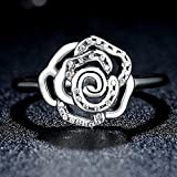 F&F Ring Sterling Silver Delicate Rose Flower Ring Fine Jewelry for Women Wedding Rings