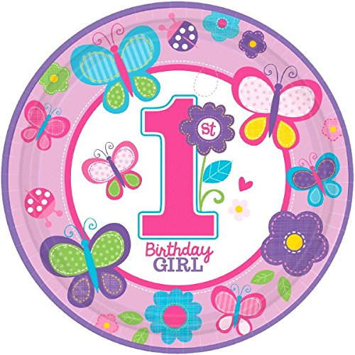 1st Birthday Girl Dessert Plate (Sweet Girl 1st Birthday Party Flowers and Butterflies Round Dinner Plates Tableware, Paper, 10