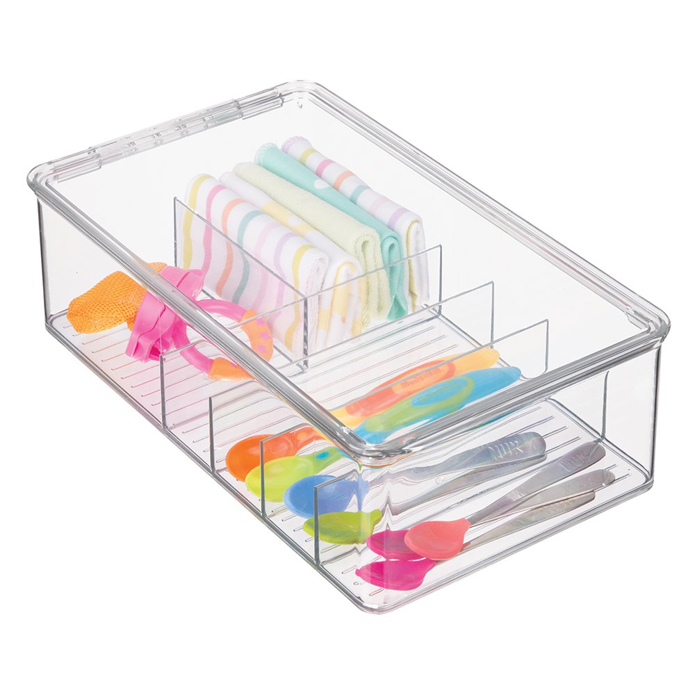 mDesign Stackable Plastic Storage Organizer Container for Kitchen Cabinets, Pantry, Countertops - Holds Kids, Child/Toddler Mealtime Sets, Small Accessories - 6 Sections - BPA Free - Clear