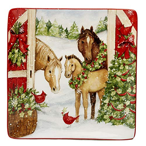 Certified International 22805 Christmas on the Farm Square Platter 12.5
