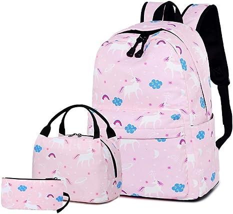 SMACO Mochilas Escolares Conjunto de Mochila, Bolso de Hombro con Bolsa de Almuerzo para niñas Adolescentes con Mochila y Estuche para el portátil de 14 Pulgadas,Pink: Amazon.es: Deportes y aire libre