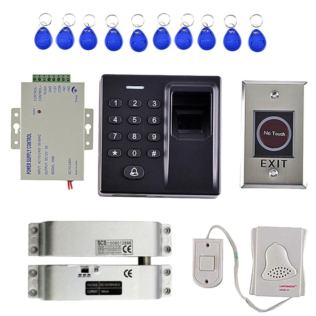 Baosity Full Kits 500 Users Fingerprint and10 Pcs Keyfobs and 125KHz RFID Card Reader Power Supply Exit Button Door Access Control
