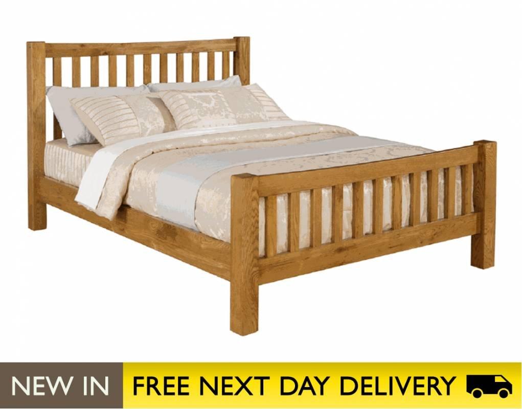 Next Day Delivery Bedroom Furniture Time Living Denver Oak 4ft6 Double Wooden Bed Bed Frame Only