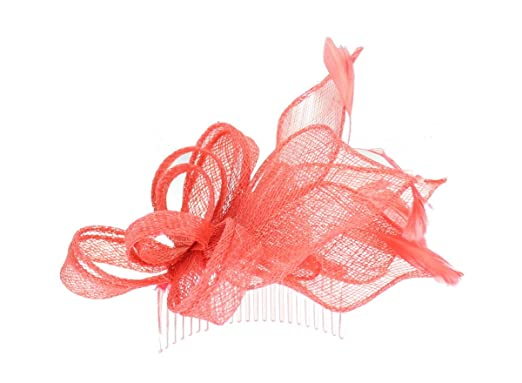 Molly and Rose Sinamay Comb Fascinator in Coral 1652d04bed2