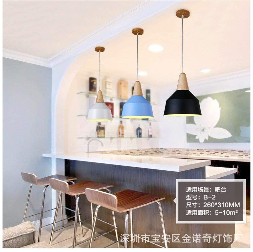 Eeayyygch Moderne einfache kreative Persönlichkeit Café Bar Kronleuchter Massivholz Bartresen Teerestaurant Beleuchtung   26x31cm, blau (Farbe   Blau)
