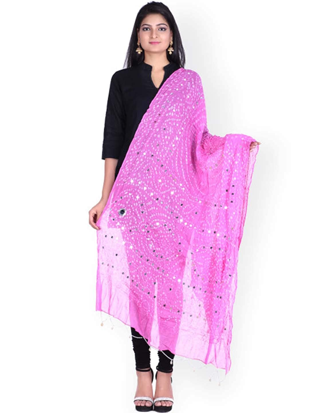 Indian Handicrfats Export SOUNDARYA Pink Sequined Bandhani Dupatta RDK_MYRKDP039