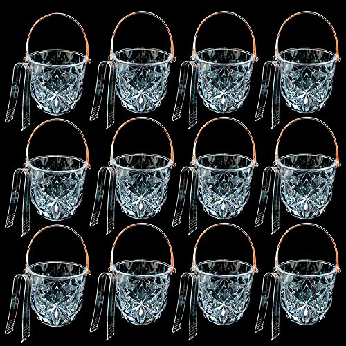 12 Clear Ice Bucket Bar Container Plastic Wine Chiller Tongs Cooler Bpa Free -