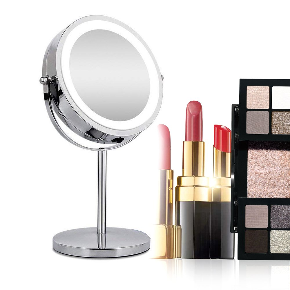 Lighted Makeup Mirror Denshine Magnifying Make up Mirror Dual 2 Sided Cosmetic Mirror LED Brightness Adjustable Makeup Mirror 7-inch Screen Mirror 360 Degrees Rotated Vanity Mirror