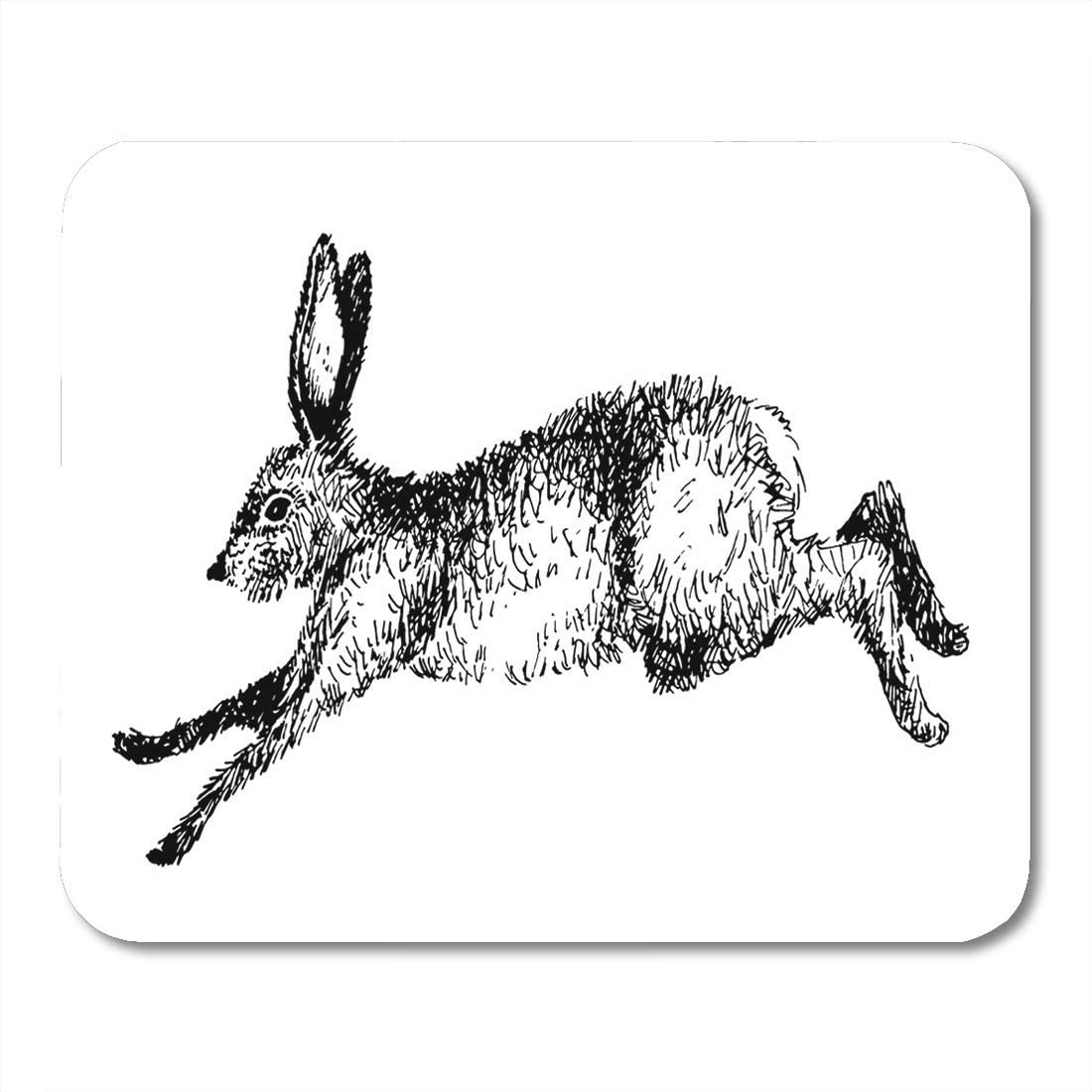 Mouse Pads Black Drawing Running Hare Rabbit Ink: Amazon.co