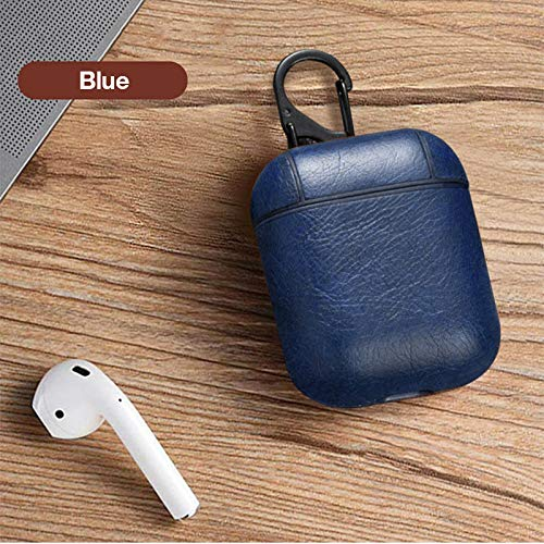 Blue AirPods PU Leather Case Protective Compatible with Apple AirPods Charging Case Accessories Set with key chain