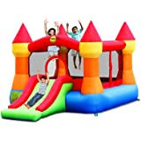 Duplay 12ft Turret Bouncy Castle complete with Airflow Fan (Rainbow)