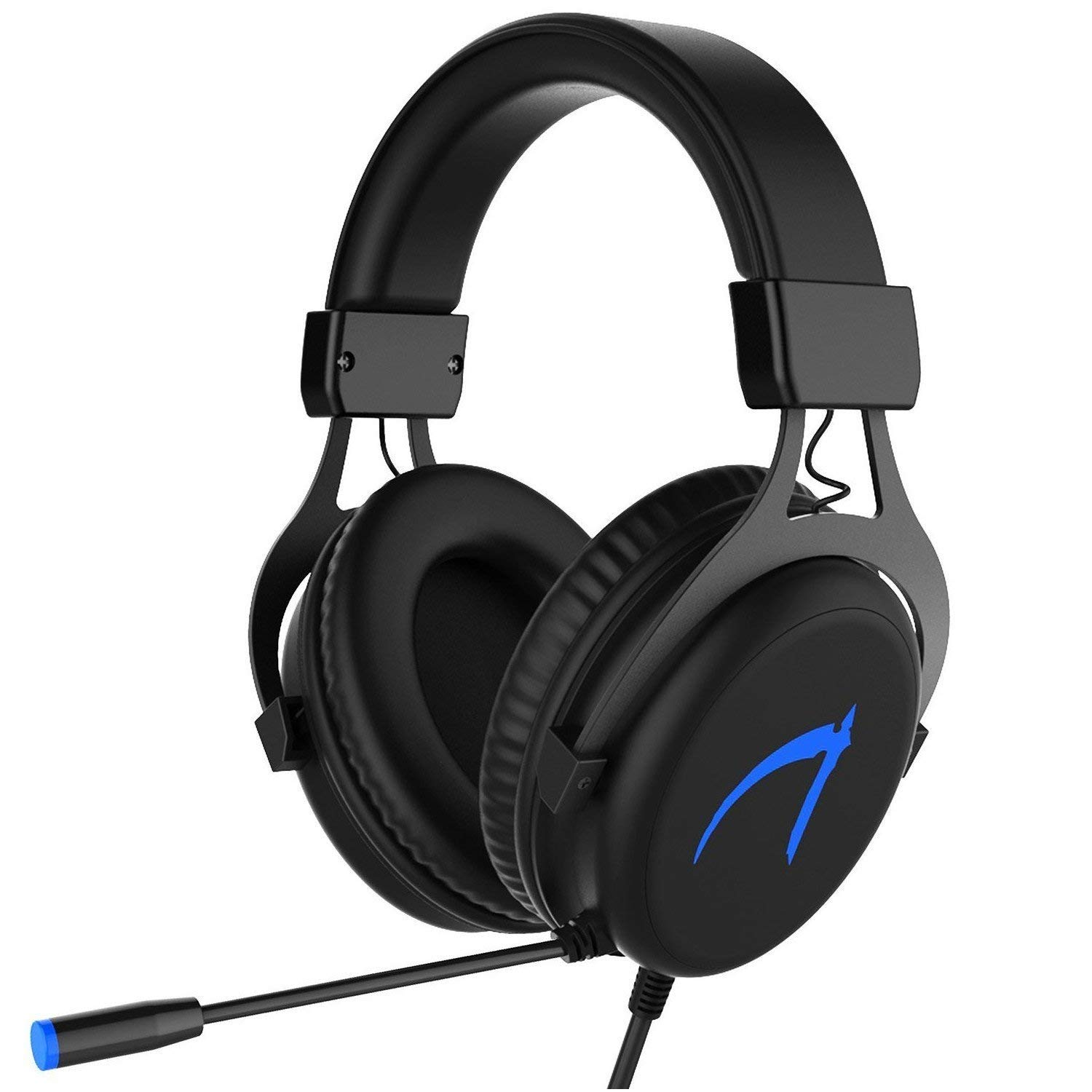 Gaming Headset PC, 7.1 Surround Sound Gaming Kopfhö rer, JIEJIEWYD USB Headset mit Mikrofon LED-Licht(Schwarz/Blau) USB Casque Gaming