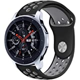 Gear S3 Sport Band, KADES Soft Silicone Band Replacement Strap for Gear S3 Frontier and Gear s3 Classic - Large, Black/Gray