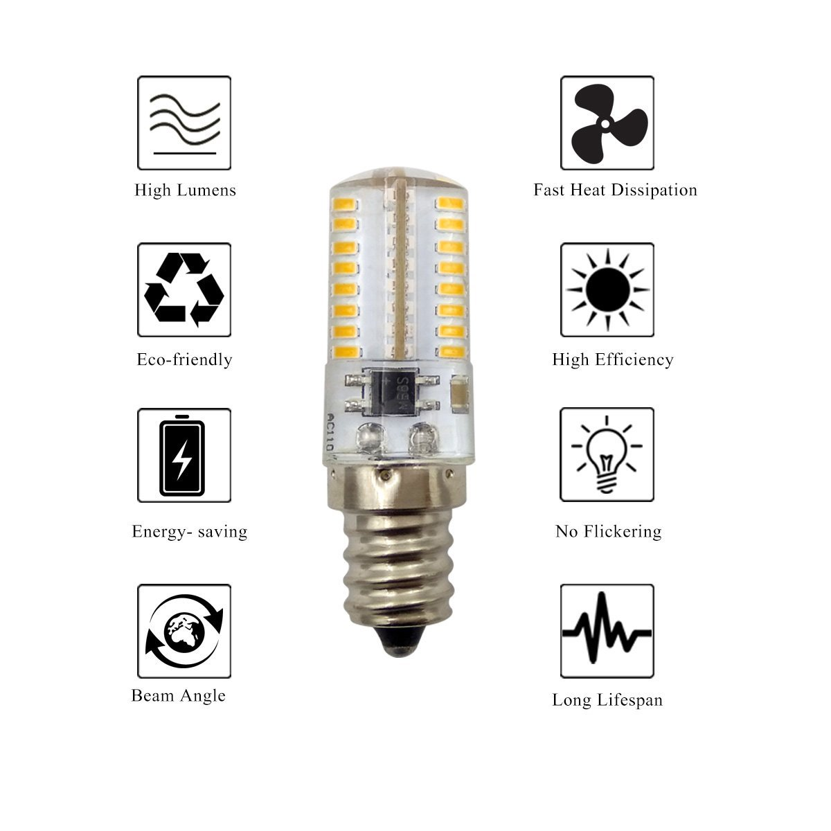 ZHENMING Dimmable E12 LED Bulb 4W Daylight White 6000K T3//T4 Candelabra Base E12 Bulb for Ceiling Fan Pack of 10 Indoor Lighting Chandelier 40W Halogen Replacement