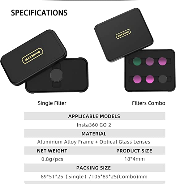 chengfang Lens Filter Set for Camera Lens Insta360 GO 2 Go 2 ND Go 2 ND Filters Set for Insta360 go 2 Camera MCUV CPL ND Camera Lens Filters Neutral Density Filters Effects Filter