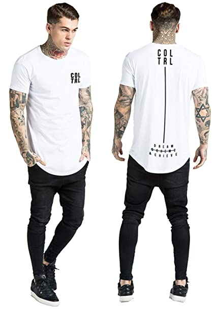 e9cb2820aaa629 Collateral Attire Mens Back Print Chest Logo Longline Curved Hem T-Shirt  SIK Gym Slim Fit Muscle Top  Amazon.co.uk  Clothing