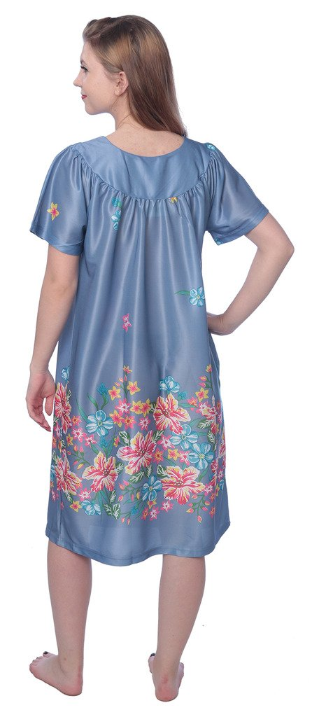 Beverly Rock Women's Short Sleeve Housecoat Floral Duster Nightgown Y18_XU9004 Indigo 2X by Beverly Rock (Image #3)