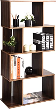 Coavas Geometric Industrial-Bookshelf Home Office-Bookcase with 8 Storage Spaces Modern Standing Storage-Shelf 2 Different Fits Organizer Walnut