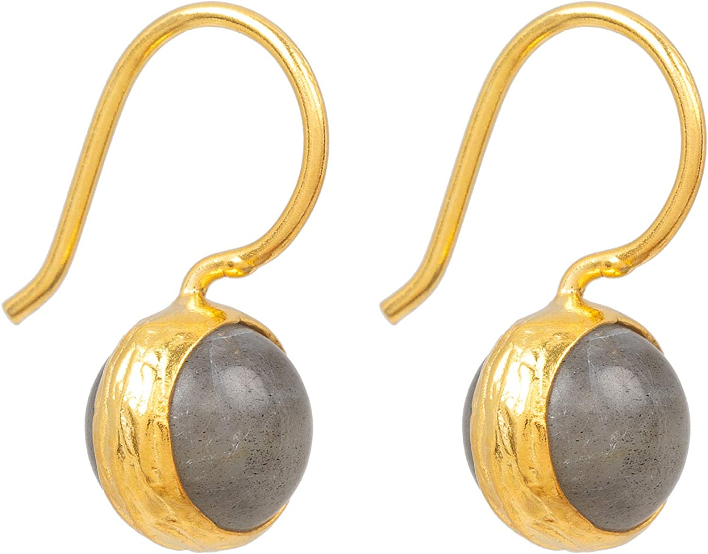 Pendientes para mujer de Sarah Bosman de oro con bola de plata chapada en oro, piedras preciosas grises engastadas - SAB-E04GRALABG