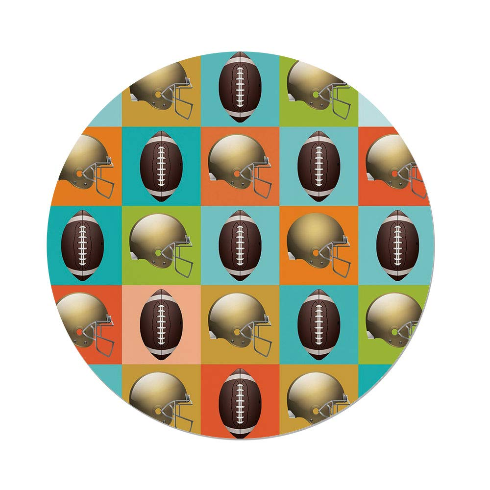 iPrint Polyester Round Tablecloth,Football,Colorful Squares Mosaic Pattern Protective Helmets Balls College Activity Decorative,Multicolor,Dining Room Kitchen Picnic Table Cloth Cover Outdoor I