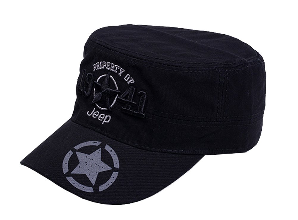 Jeep 1941 Men's Adjustable Military Fitted Cap,Black