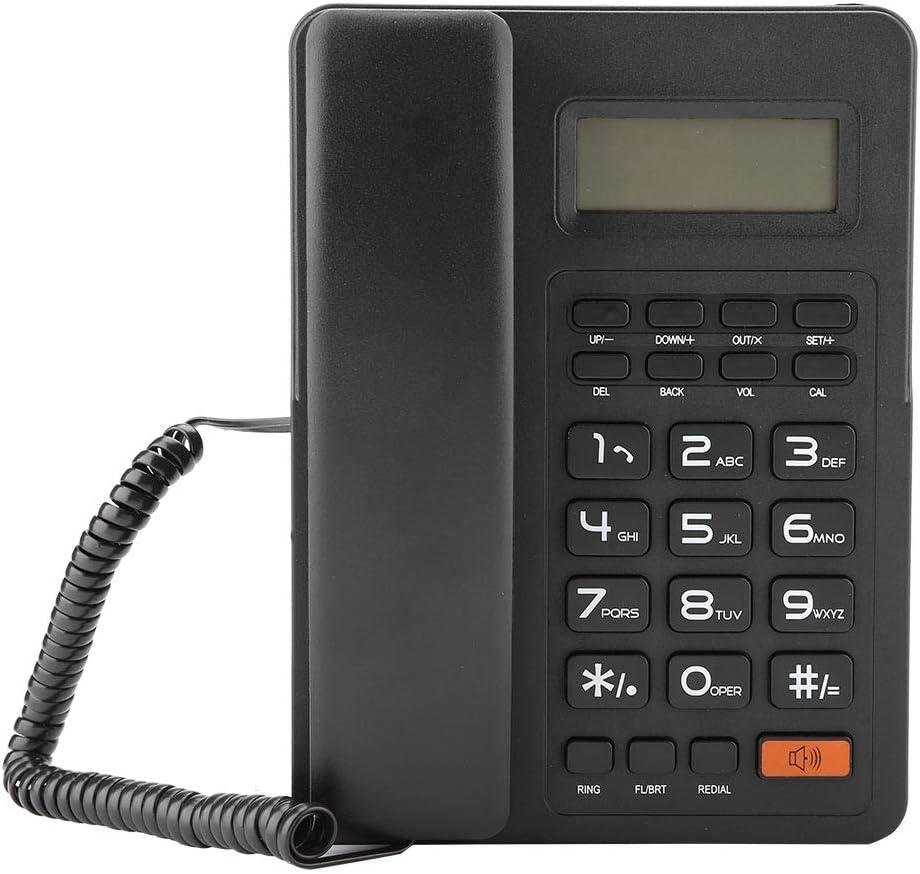 Teléfono con cable, teléfono Pantalla grande Identificador de llamadas Pantalla de línea fija Teléfono con cable Teléfono fijo Sin batería con altavoz Teléfono con oficina en el hogar Sin batería Negr