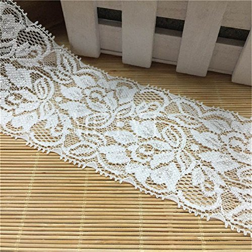 (8 Yard Stretch Floral Elastic Lace Edge Trim Ribbon 2-1/2