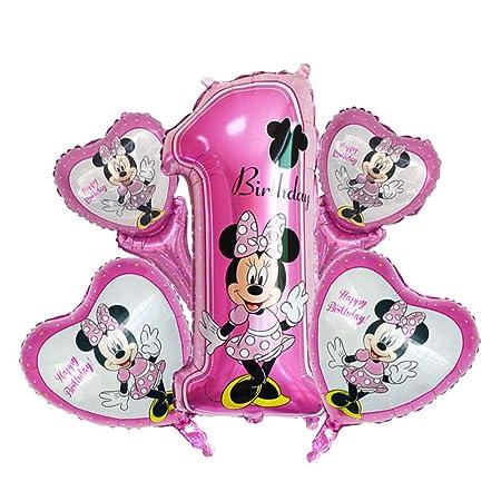 5 piezas feliz cumpleaños decoración globo mickey minnie ...