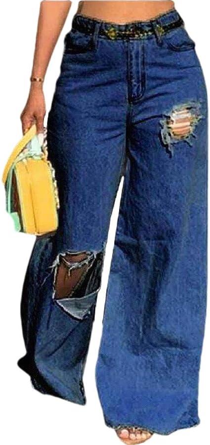 gawaga 女性 ルーズ デニム ホール パンツ ワイド レッグ パンツ 弾性ウエスト カジュアル パンツ