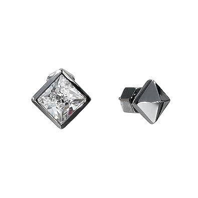 8b379129b Amazon.com  Nicole Miller Asymmetrical Pyramid Black Stud Earrings-Black  Rhodium Plated Brass  Jewelry