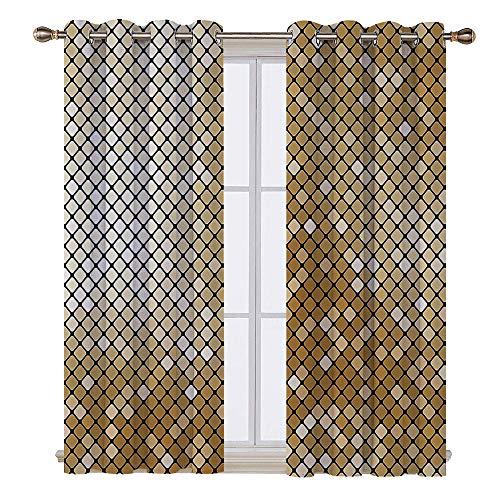 SATVSHOP Door Curtain - 84W x 72L Inch-Light Blocking Window Treatment for Bedroom Decor 2 Panels.Geometric Checked Mosaic Pattern Nightclub Disco Ball Style Modern Illustration Light Yellow Gold.