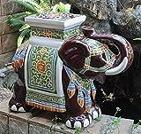 International Caravan VH016A-C-LG-016-IC Furniture Piece Large Porcelain Elephant Stool (Kitchen)