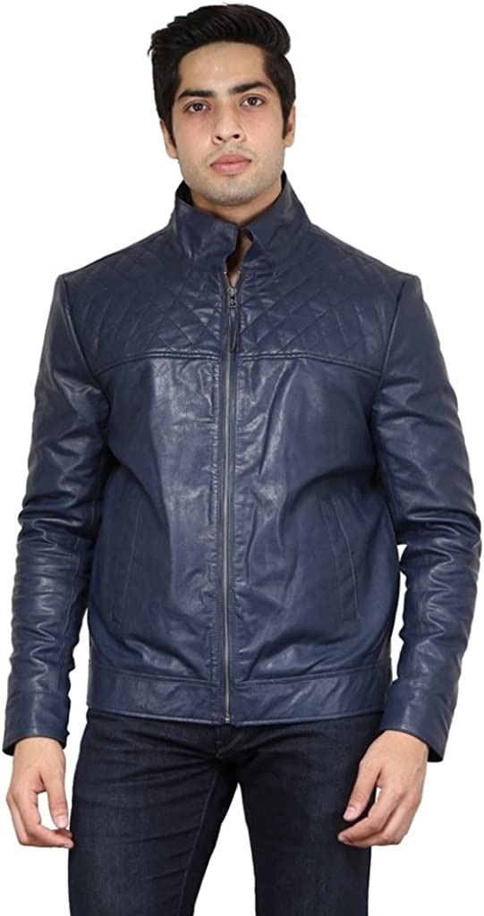 Leather Gallery Mens Genuine Lambskin Bomber Motorcylce Leather Jacket